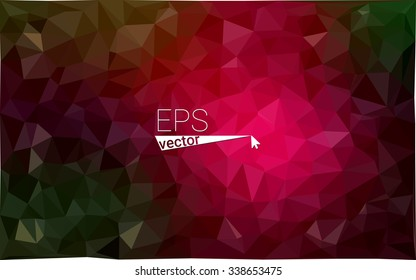 Multicolor dark red, green geometric rumpled triangular low poly origami style gradient illustration graphic background. Vector polygonal design for your business.