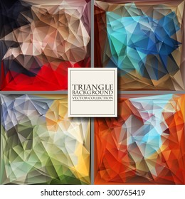 Multicolor Design Templates Set. Geometric Triangular Abstract Modern Vector Background.