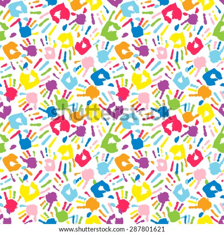 b1f649fe9a9a Multicolor Different Hand Prints Seamless Pattern Stock Vector ...