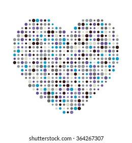 Multicolor dots heart vector illustration icon symbol. Valentine day card. Eps 10