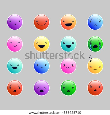 Multicolor emoticons with different emotions, vector set of various cute  expressions, EPS 10