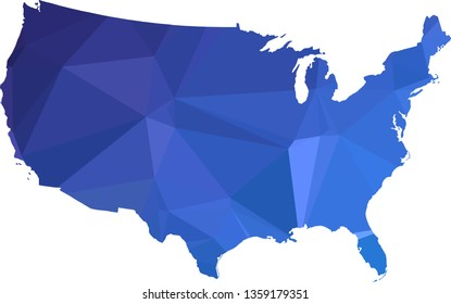 Multicolor gradient USA Map in Low Poly Style on isolated white background. United States of America area in Polygonal diamond style for your design