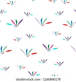 Multicolor Grass Seamless Pattern. Vector. Elements are not cropped. Pattern under the mask. Perfect design for textile, box, posters, cards, brochures, etc.