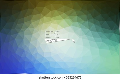 multicolor green, blue geometric rumpled triangular low poly style gradient illustration graphic background. Vector polygonal design for your business.