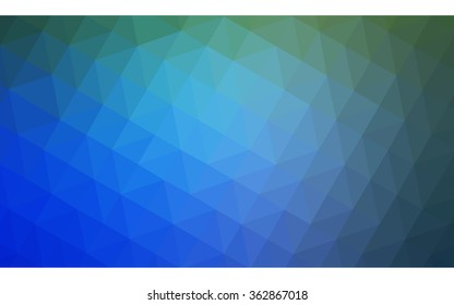 Multicolor green, blue polygonal illustration, which consist of triangles. Geometric background in Origami style with gradient. Triangular design for your business in vector.