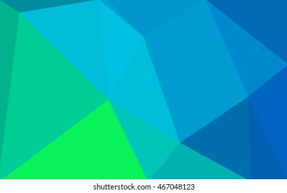 Multicolor green, blue polygonal illustration, which consist of triangles. Geometric background in Origami style with gradient. Triangular design for your business.