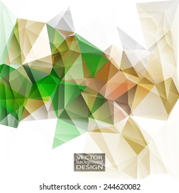 Multicolor ( Green, Brown, Yellow ) Design Templates. Geometric Triangular Abstract Modern Vector Background.