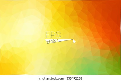 Multicolor green, yellow, orange  geometric rumpled triangular low poly style gradient illustration graphic background. Vector polygonal design for your business.