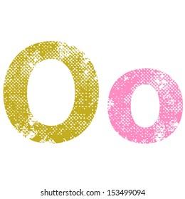 Multicolor grunge letters O. Vector illustration.