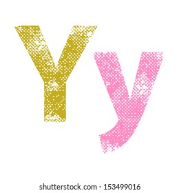 Multicolor grunge letters Y. Vector illustration.