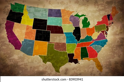 Multicolor Grunge USA Map - EPS10 Vector