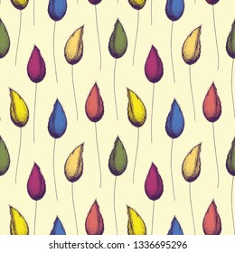 Multicolor hand drawn flower buds and stems in vintage half drop style design on light cream background. Seamless vector pattern. Perfect for stationery, fabric, giftwrap, gardening products