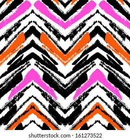Multicolor hand drawn pattern with brushed zigzag line. Vector seamless texture for web, print, home decor, textile, wrapping paper, wallpaper, invitation card background, spring summer fashion fabric
