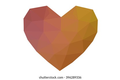 Multicolor heart isolated on white background. Geometric rumpled triangular low poly origami style gradient graphic illustration. Vector polygonal design for your business.