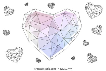 Multicolor heart isolated on white background.
