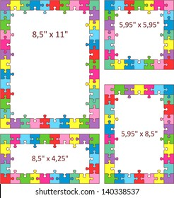 Multicolor jigsaw puzzle frames, borders of Letter and other sizes ( for high res JPEG or TIFF see image 140338546 )