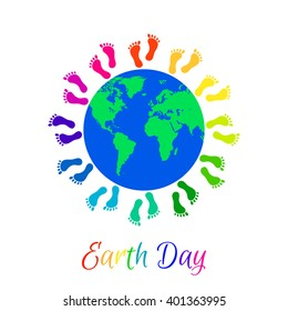 Multicolor kids legs around planet Earth. Earth Day holiday.
