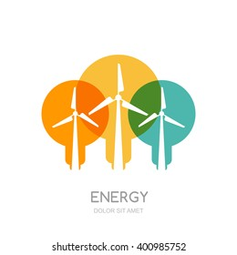 Multicolor light bulbs and wind turbines silhouettes, isolated symbol. Vector logo design template. Windmills and wind alternative energy generator. Environmental, ecology business concept.