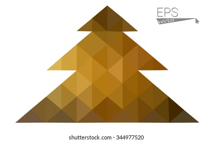Multicolor low polygon style christmas tree vector illustration consisting of triangles . Abstract triangular polygonal origami or crystal design of New Years celebration. Isolated on white background