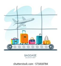 Multicolor luggage, suitcase, bags on train in airport terminal. Vector hand drawn illustration. Luggage carousel against airport window with taking off plane. Travel and tourism concept.