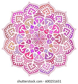 Multicolor Mandala. Vector Ethnic Oriental Circle Ornament.