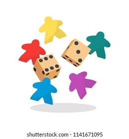 Multicolor meeple and dice vector illustration. Symbol of family board games