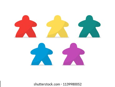 Multicolor meeples vector illustration. Symbol of family board games