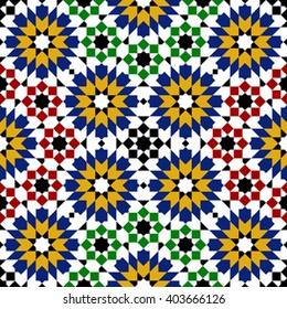 multicolor mosaic moroccan zellige seamless. vector illustration