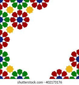 multicolor mosaic moroccan zellige template. vector illustration