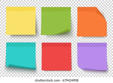 Multicolor notes isolated on transparent background (post it). Colored sticky note set. Vector realistic illustration. Sticky note collection with curled corners and shadows.