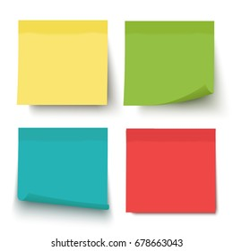 Multicolor notes isolated on white background. Post it. Colored sticky note set. Vector realistic illustration. Sticky note collection with curled corners and shadows.