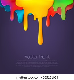 Multicolor paint dripping on background. Stylish acrylic liquid layered colorful painting concept.