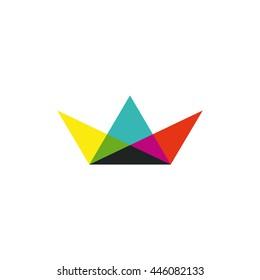 Multicolor paper boat icon. Little ship CMYK logo