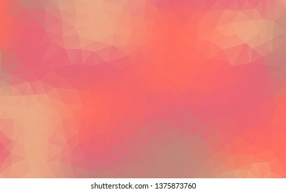 Multicolor polygonal illustration on the basis of Living Coral color.  Triangulation technique. Colorful geometric background. Triangular design for your business.