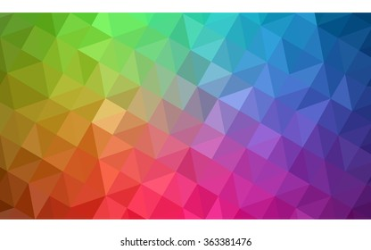 Multicolor polygonal illustration, which consist of triangles. Geometric background in Origami style with gradient. Triangular design for your business in vector. Rainbow, spectrum image.