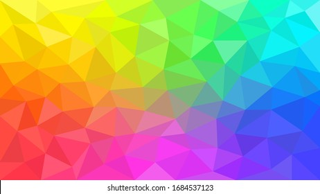 Multicolor rainbow low poly background. Abstract random vector background from triangles. Polygonal design