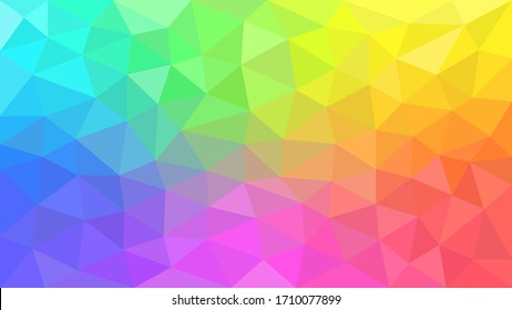 Multicolor rainbow low poly background. Abstract gradient pastel vector background from triangles. Polygonal colorful design. Vector illustration