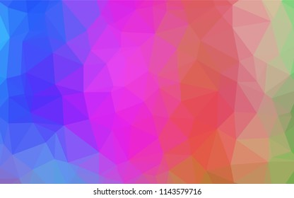 Multicolor, Rainbow vector blurry hexagon texture. Triangular geometric sample with gradient. The template can be used as a background for cell phones.