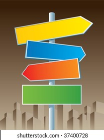 Multicolor roadsigns on sepia city background.