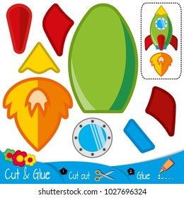 Multicolor rocket with a fire from a working engine. Spaceship. Education paper game for preshool children. Vector illustration.