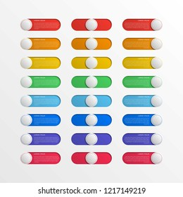 multicolor round switch interface buttons with text boxes. 3d realistic infographic slider. easy to edit and costomize vector illustration. eps10