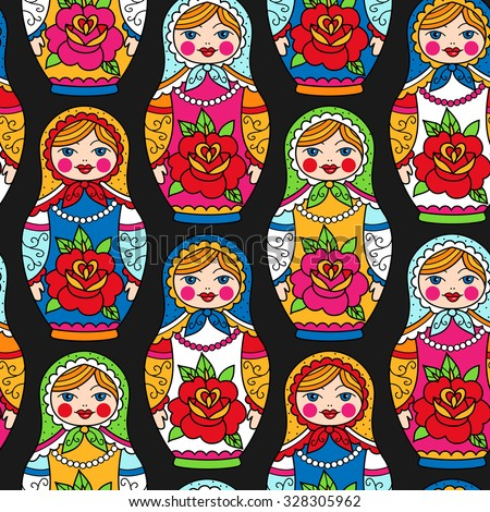 Multicolor Russian Nesting Dolls On Black Background Seamless Pattern For Your Design