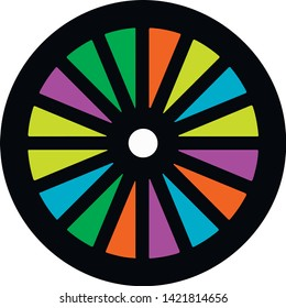 Multicolor samsara wheel background vector