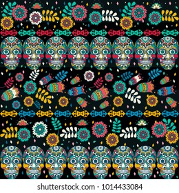 Multicolor seamless pattern. Boho style decorated tribal texture. Skulls and flowers on strips. Vector illustration. EPS10