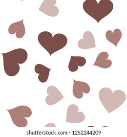 Multicolor Seamless Pattern with Hearts  in chocolate color. Elements are not cropped. Pattern under the mask. Vector. Perfect design for textile, box, posters, cards, web etc.
