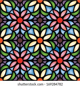 multicolor seamless pattern,vector illustration in stained glass window style