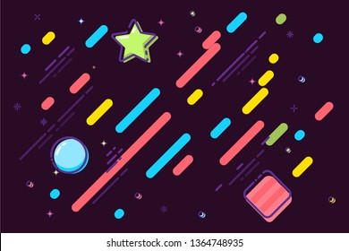 Multicolor shapes cartoon vector background. Red, blue, yellow circles, squares drawing. Stars, rounds, falling stripes flat illustration. Diagonal laser, neon lines rain banner abstract background