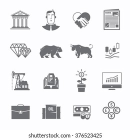 Multicolor stock exchange trading set of icons. The bulls and bears struggle. Equity market. World economy major trends.
