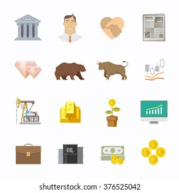 Multicolor stock exchange trading set of icons. The bulls and bears struggle. Equity market. World economy major trends. Modern flat design.