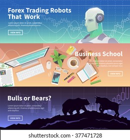 Multicolor stock exchange trading set of web banners. Equity market. World economy major trends. Modern flat design. Forex trading robot. Business school. Bulls or Bears?